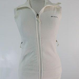 Columbia white polar fleece vest size xs